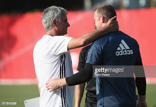 Manager Jose Mourinho and Wayne Rooney of Manchester United in action during a first team training session as part of their preseason tour of China...