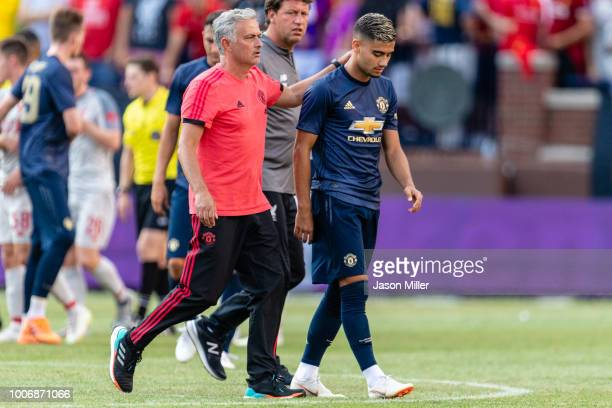 Manager Jose Mourinho consoles Andreas Pereira of Manchester United after the team lost to Liverpool during the International Champions Cup 2018 at...