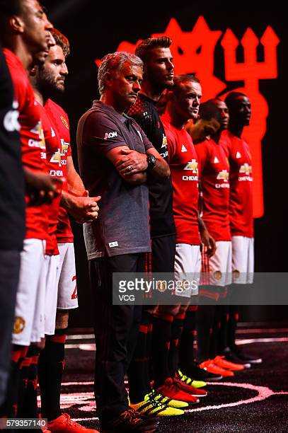 Manager Jose Mourinho David de Gea and Wayne Rooney of Manchester United pose during the official launch of the 2016/17 Manchester United home kit at...