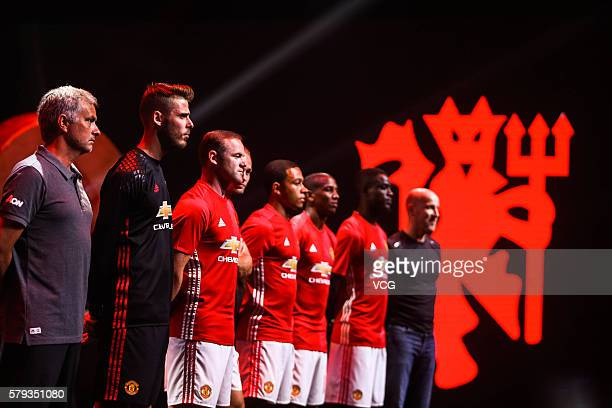 Manager Jose Mourinho David de Gea Wayne Rooney Daley Blind and Memphis Depay of Manchester United pose during the official launch of the 2016/17...