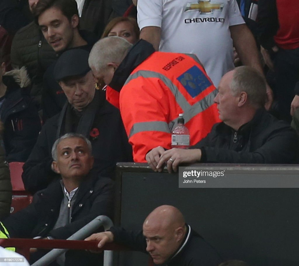 Manager Jose Mourinho is moved from his seat in the stand after being sent from the dugout by referee Mark Clattenburg during the Premier League match between Manchester United and Burnley at Old Trafford on October 29, 2016 in Manchester, England.