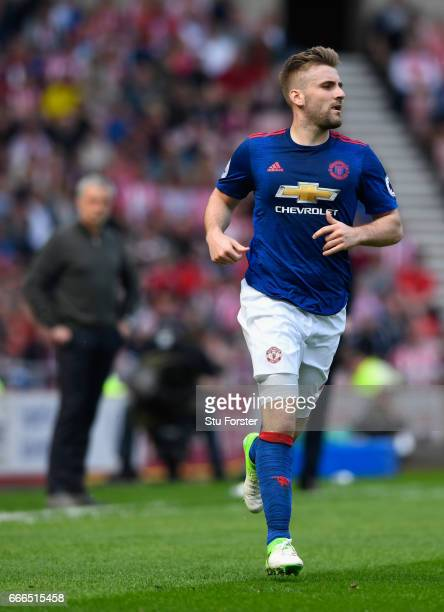 Manager Jose Mourinho keeps an eye on Luke Shaw during the Premier League match between Sunderland and Manchester United at Stadium of Light on April...