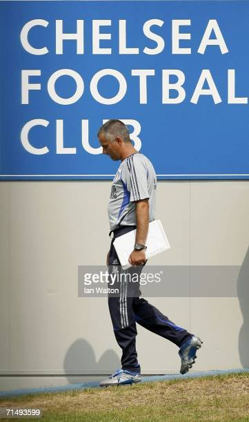Manager Jose Mourinho of Chelsea during a training session at Chelsea training ground on July 21 in Cobham England