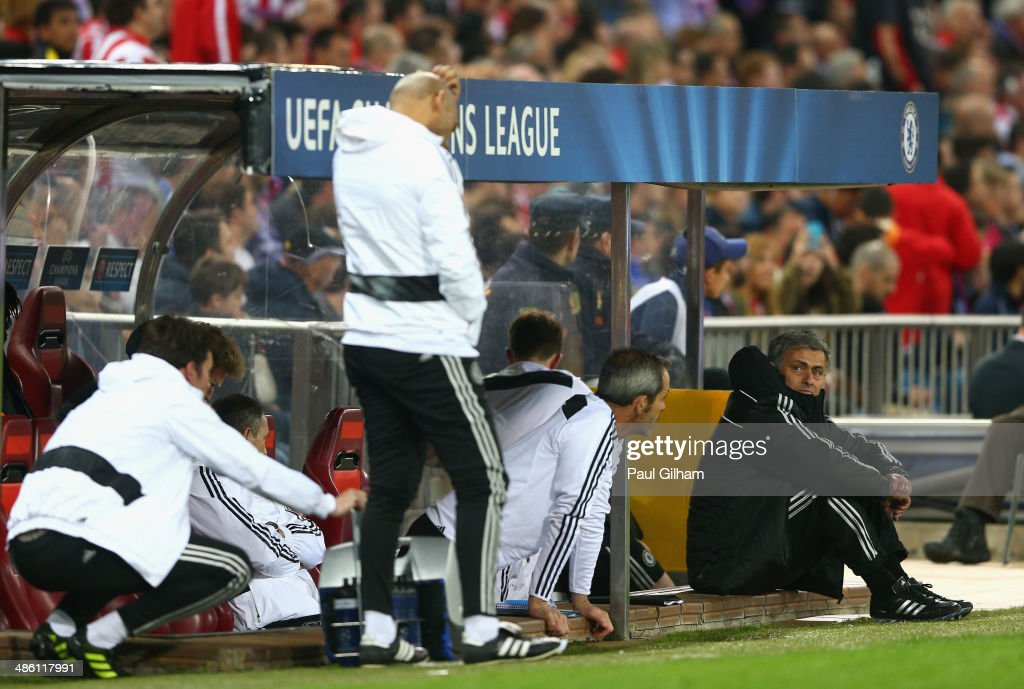 Manager Jose Mourinho of Chelsea looks dejected as he looks at his coaching staff during the UEFA Champions League Semi Final first leg match between Club Atletico de Madrid and Chelsea at Vicente Calderon Stadium on April 22, 2014 in Madrid, Spain.