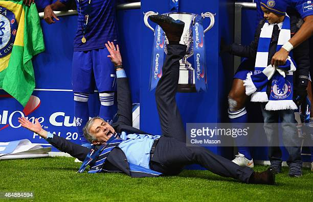 Manager Jose Mourinho of Chelsea on the pitch as Chelsea celebrate with the trophy during the Capital One Cup Final match between Chelsea and...