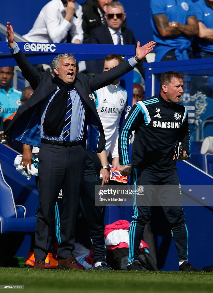 Manager Jose Mourinho of Chelsea on the touchline during the Barclays Premier League match between Queens Park Rangers and Chelsea at Loftus Road on April 12, 2015 in London, England.