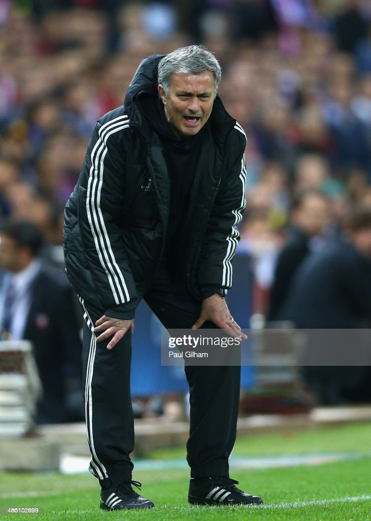 Manager Jose Mourinho of Chelsea shouts from the dug out during the UEFA Champions League Semi Final first leg match between Club Atletico de Madrid and Chelsea at Vicente Calderon Stadium on April 22, 2014 in Madrid, Spain.