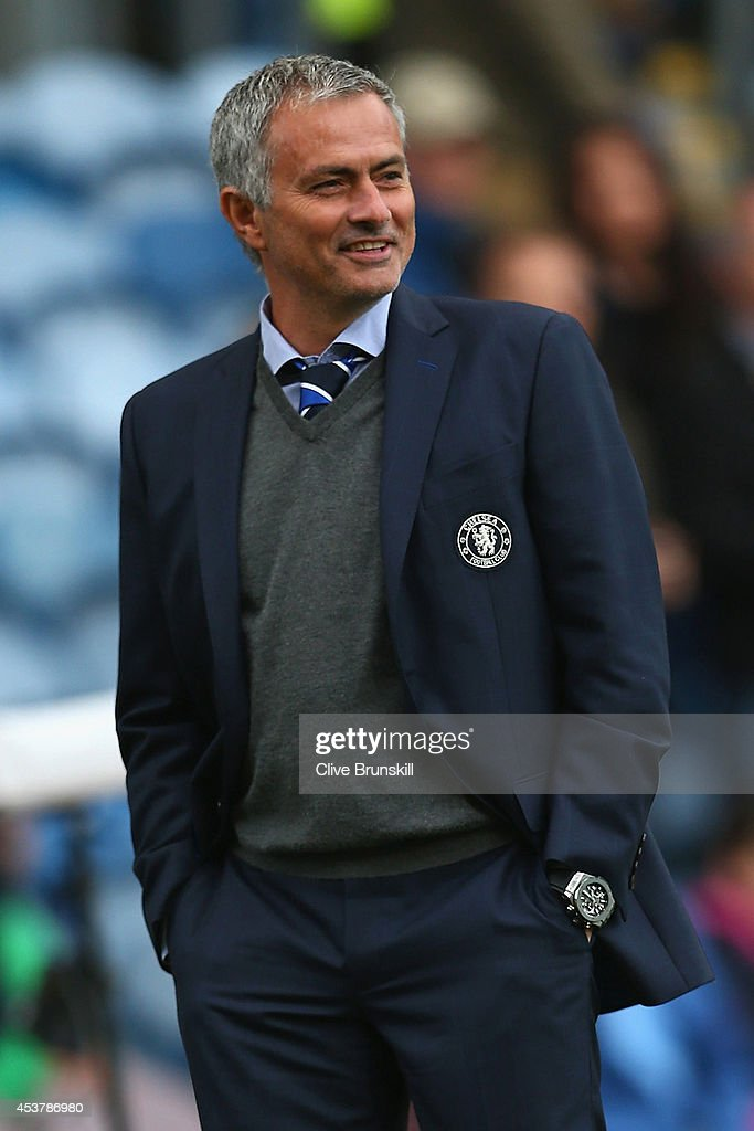 Manager Jose Mourinho of Chelsea walks pitchside prior to the the Barclays Premier League match between Burnley and Chelsea at Turf Moor on August 18, 2014 in Burnley, England.