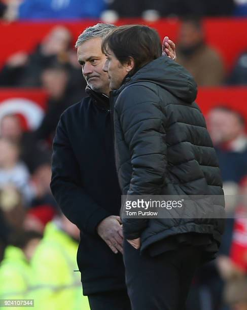 Manager Jose Mourinho of Manchester United and Manager Antonio Conte of Chelsea shake hands after the Premier League match between Manchester United...