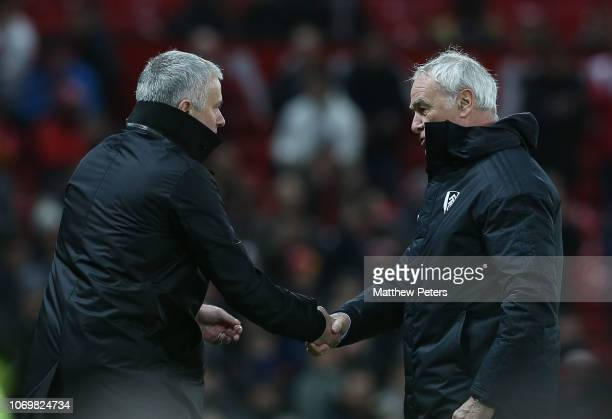 Manager Jose Mourinho of Manchester United and Manager Claudio Ranieri of Fulham shake hands after the Premier League match between Manchester United...