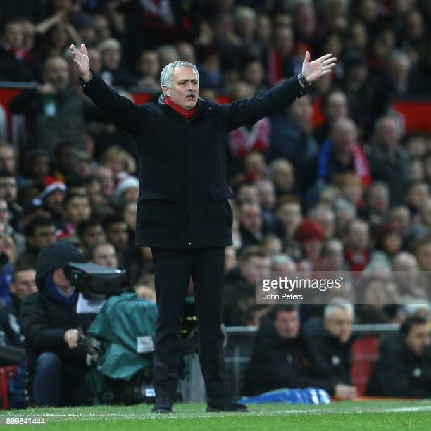 Manager Jose Mourinho of Manchester United appeals for a penalty for handball by Maya Yoshida of Southampton during the Premier League match between...