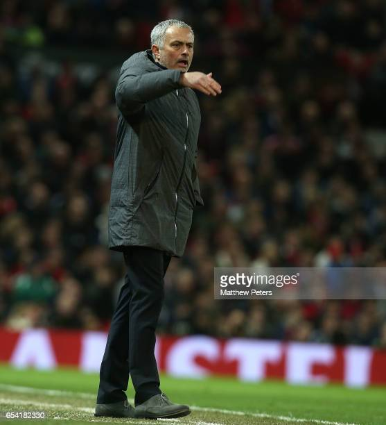 Manager Jose Mourinho of Manchester United appeals for a penalty on the touchline during the UEFA Europa League Round of 16 second leg match between...