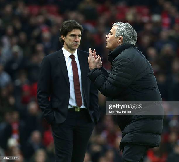 Manager Jose Mourinho of Manchester United appeals the decision to rule out a Zlatan Ibrahimovic goal during the Premier League match between...