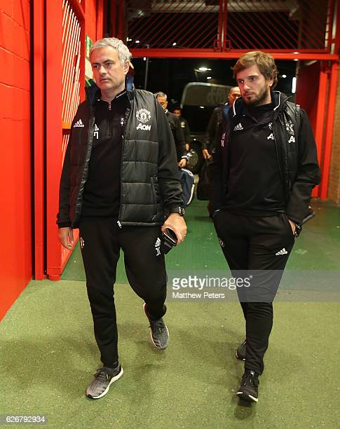 Manager Jose Mourinho of Manchester United arrives ahead of the EFL Cup QuarterFinal match between Manchester United and West Ham United at Old...