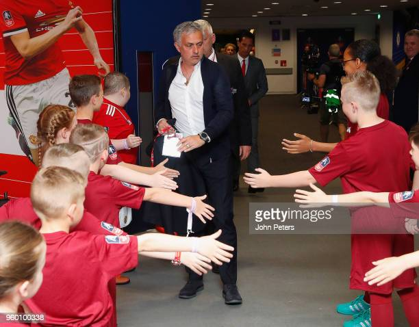 Manager Jose Mourinho of Manchester United arrives at Wembley ahead of the Emirates FA Cup Final match between Manchester United and Chelsea at...