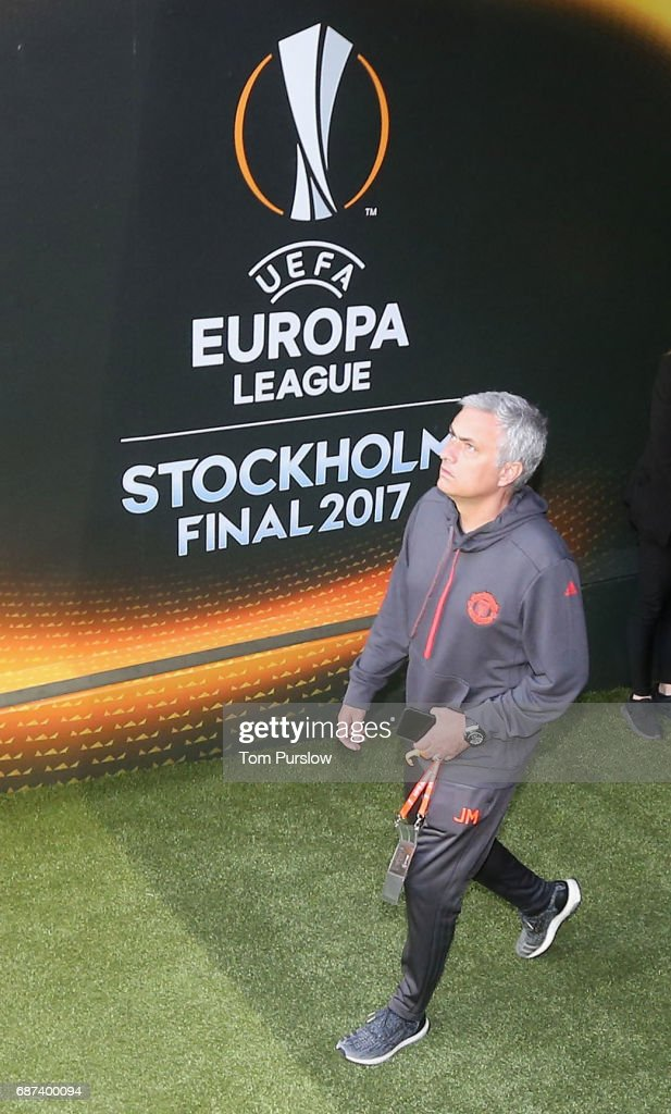 Manager Jose Mourinho of Manchester United arrives for a walk on the pitch ahead of the UEFA Europa League Final at Friends Arena on May 23, 2017 in Stockholm, Sweden.