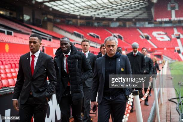 Manager Jose Mourinho of Manchester United attends a service to commemorate the 60th anniversary of the Munich Air Disaster at Old Trafford on...