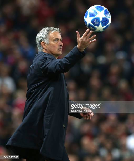 Manager Jose Mourinho of Manchester United catches the ball during the Group H match of the UEFA Champions League between Manchester United and...