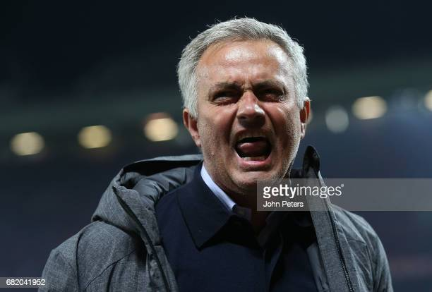 Manager Jose Mourinho of Manchester United celebrates after the UEFA Europa League semi final second leg match between Manchester United and Celta...