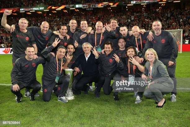Manager Jose Mourinho of Manchester United celebrates with his coaching staff and the Europa League trophy after the UEFA Europa League Final match...