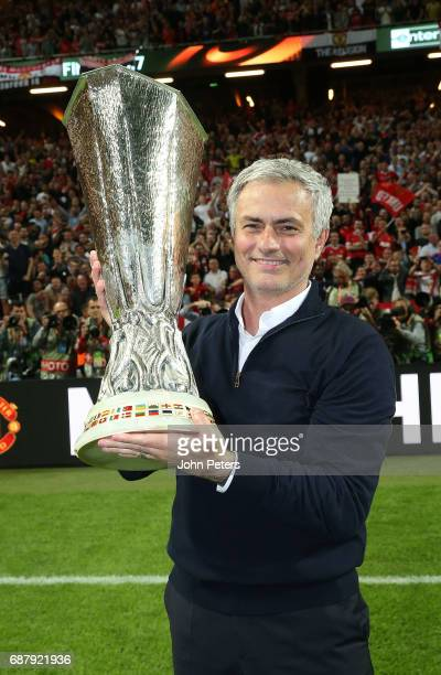 Manager Jose Mourinho of Manchester United celebrates with the Europa League trophy after the UEFA Europa League Final match between Manchester...