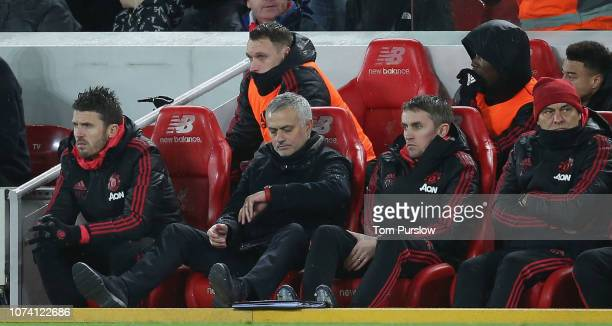 Manager Jose Mourinho of Manchester United checks his watch during the Premier League match between Liverpool FC and Manchester United at Anfield on...