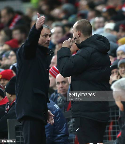 Manager Jose Mourinho of Manchester United complains to fourth official Bobby Madley during the Premier League match between Manchester United and...
