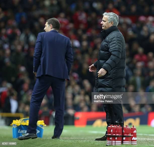 Manager Jose Mourinho of Manchester United complains to fourth official Anthony Taylor during the Premier League match between Manchester United and...