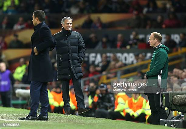Manager Jose Mourinho of Manchester United complains to the fourth official during the UEFA Europa League match between Manchester United FC and...