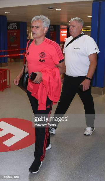 Joel Pereira and Andreas Pereira of Manchester United depart for the club's preseason tour of the USA at Manchester Airport on July 15 2018 in...