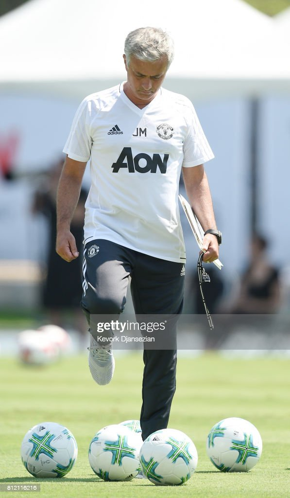 Manager Jose Mourinho of Manchester United during training for Tour 2017 at UCLA's Drake Stadium July 10, 2017, in Los Angeles, California.