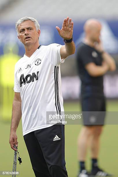 Manager Jose Mourinho of Manchester United gestures during the team training session as part of their preseason tour of China at Shanghai Stadium on...
