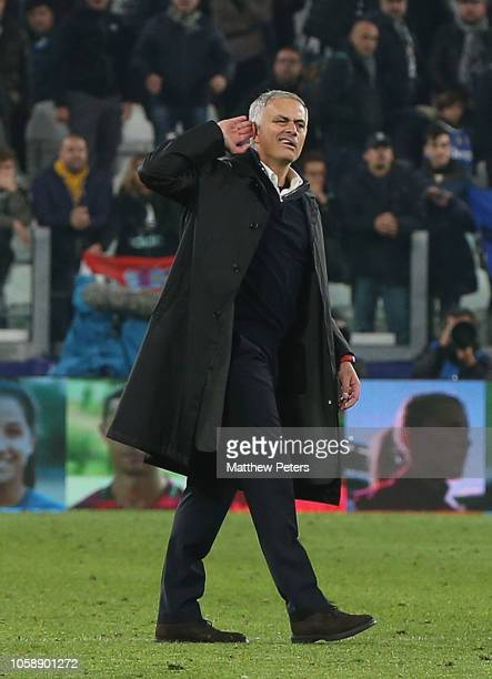 Manager Jose Mourinho of Manchester United gestures to the crowd after the Group H match of the UEFA Champions League between Juventus and Manchester...