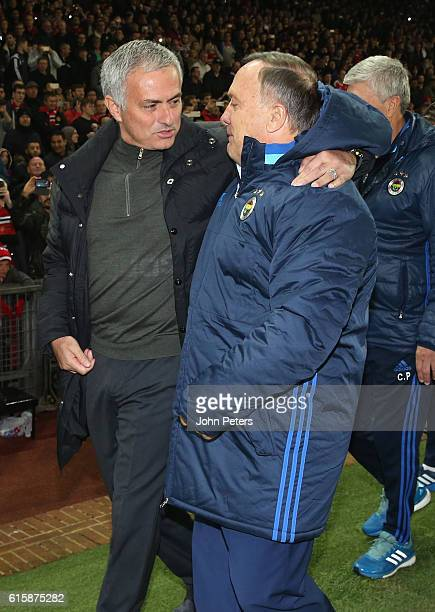 Manager Jose Mourinho of Manchester United greets Manager Dick Advocaat of Fenerbahce ahead of the UEFA Europa League match between Manchester United...
