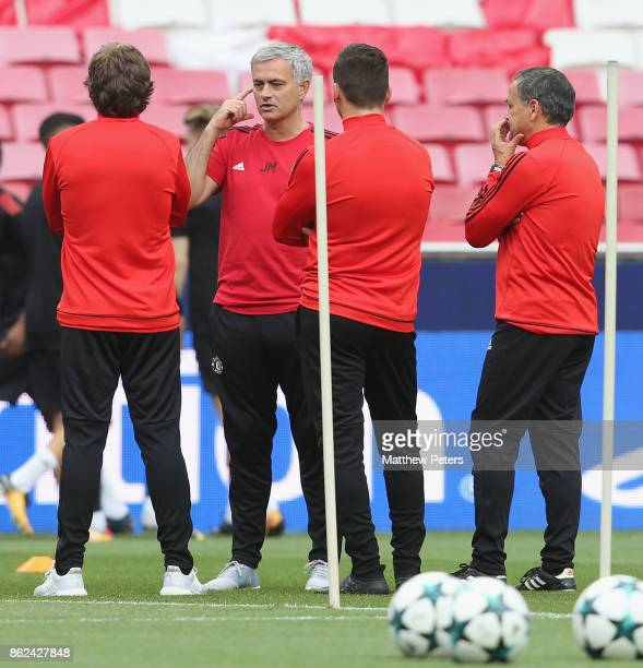 Manager Jose Mourinho of Manchester United in action during a training session ahead of their UEFA Champions League match against Benfica on October...