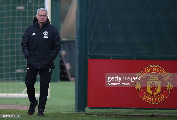 Manager Jose Mourinho of Manchester United in action during a first team training session at Aon Training Complex on November 6 2018 in Manchester...