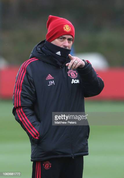 Manager Jose Mourinho of Manchester United in action during a first team training session at Aon Training Complex on November 20 2018 in Manchester...