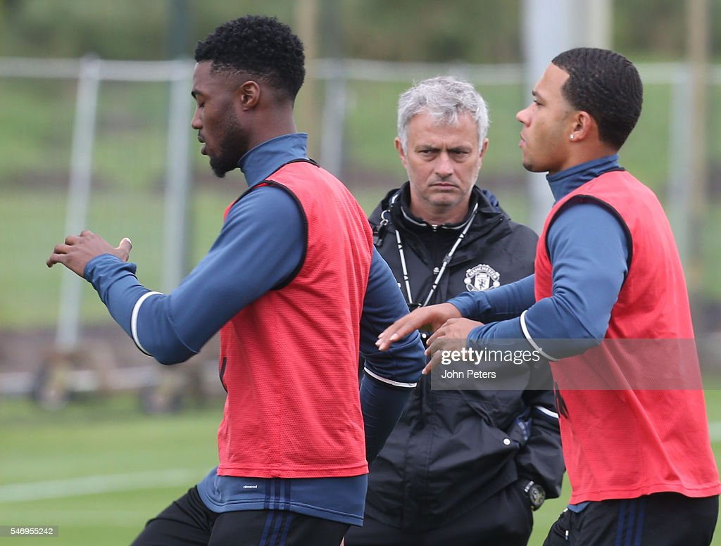 Manager Jose Mourinho of Manchester United in action during a first team training session at Aon Training Complex on July 13, 2016 in Manchester, England.