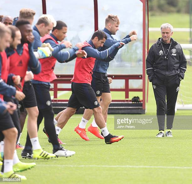 Manager Jose Mourinho of Manchester United in action during a first team training session at Aon Training Complex on July 13 2016 in Manchester...