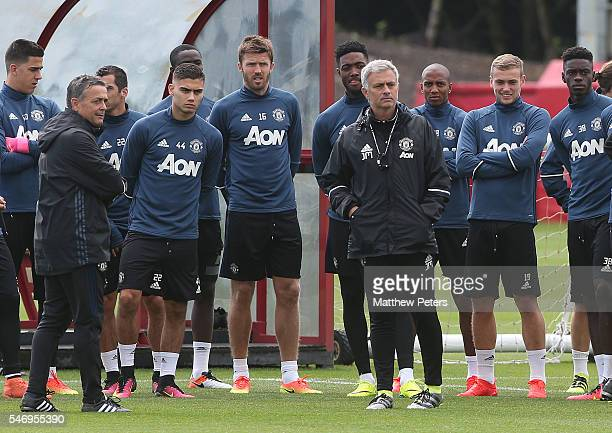 Manager Jose Mourinho of Manchester United in action during a first team training session at Aon Training Complex on July 13, 2016 in Manchester,...