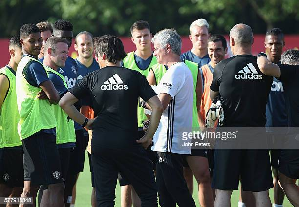 Manager Jose Mourinho of Manchester United in action during a first team training session as part of their preseason tour of China at Century Park on...