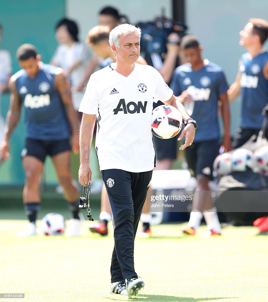 Manager Jose Mourinho of Manchester United in action during a first team training session as part of their pre-season tour of China at Century Park on July 21, 2016 in Shanghai, China.