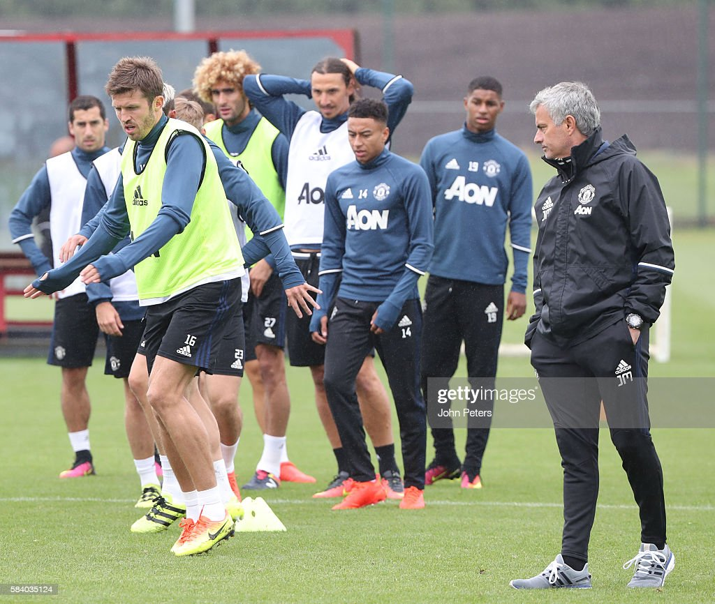 Manager Jose Mourinho of Manchester United in action during a first team training session at Aon Training Complex on July 28, 2016 in Manchester, England.