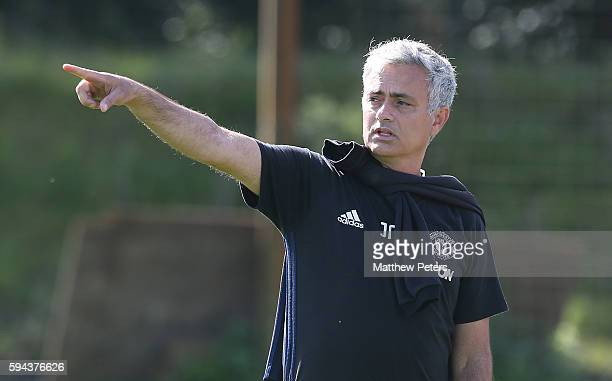 Manager Jose Mourinho of Manchester United in action during a first team training session at Aon Training Complex on August 23 2016 in Manchester...