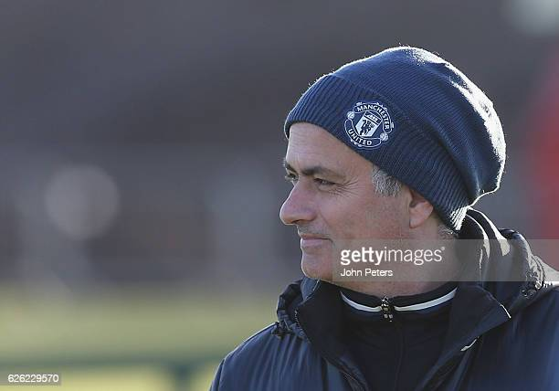 Manager Jose Mourinho of Manchester United in action during a first team training session at Aon Training Complex on November 28 2016 in Manchester...