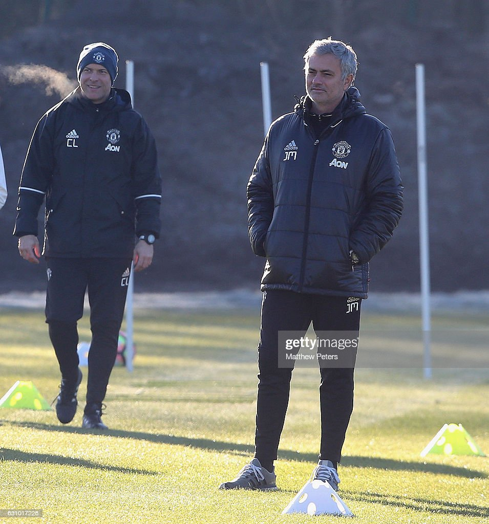 Manager Jose Mourinho of Manchester United in action during a first team training session at Aon Training Complex on January 5, 2017 in Manchester, England.