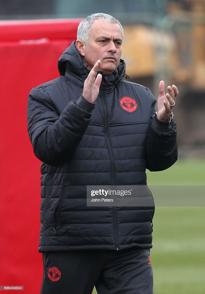 Manager Jose Mourinho of Manchester United in action during a first team training session at Aon Training Complex on February 15, 2017 in Manchester, England.