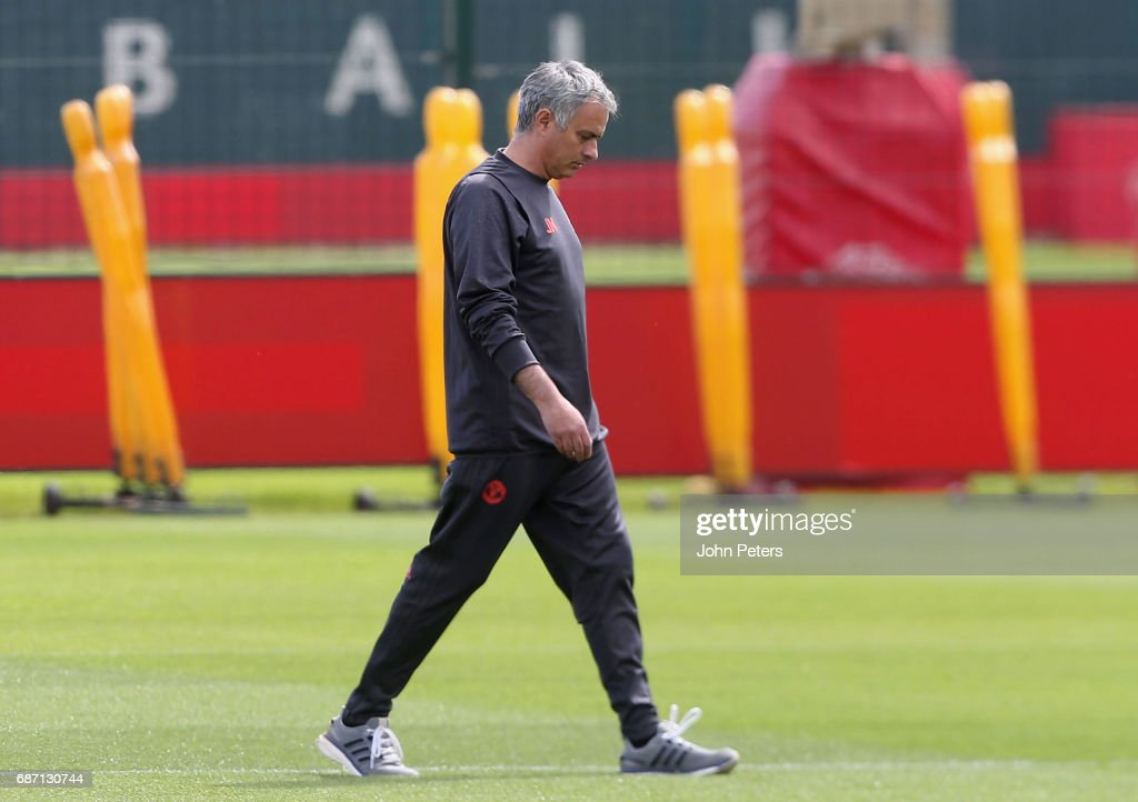Manager Jose Mourinho of Manchester United in action during a first team training session, ahead of the UEFA Europa League Final, at Aon Training Complex on May 23, 2017 in Manchester