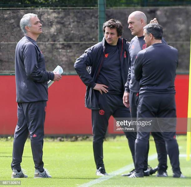 Manager Jose Mourinho of Manchester United in action during a first team training session ahead of the UEFA Europa League Final at Aon Training...