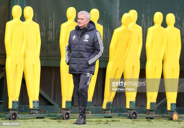 Manager Jose Mourinho of Manchester United in action during a first team training session at Aon Training Complex on October 26 2017 in Manchester...